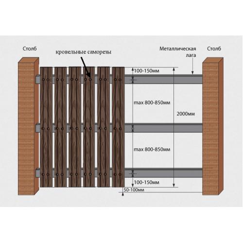 Штакетник широкий с тиснением под дерево из ДПК 122*12*2000 мм. (бамбук, антрацит, мрамор)